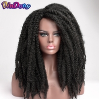 DinDong Curly Synthetic Wig Dreadlock Marley Braided Wigs 20 inch Natural Wave Afro Wig for African American Women