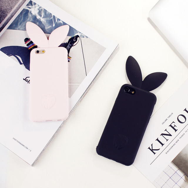 more photos 15f84 336a9 US $4.38 |3D Fashion Cute Bunny Long Rabbit Ear Phone Case For iPhone 6 6s  Soft Silicone Girl Pink Case Cover Simple Cartoon Back Coque-in Fitted ...