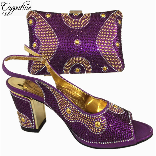 Capputine Royal Blue Color Italian Matching Shoes And Bag Set For Wedding Nigerian Style Women Party Shoes And Bag Set BL765C