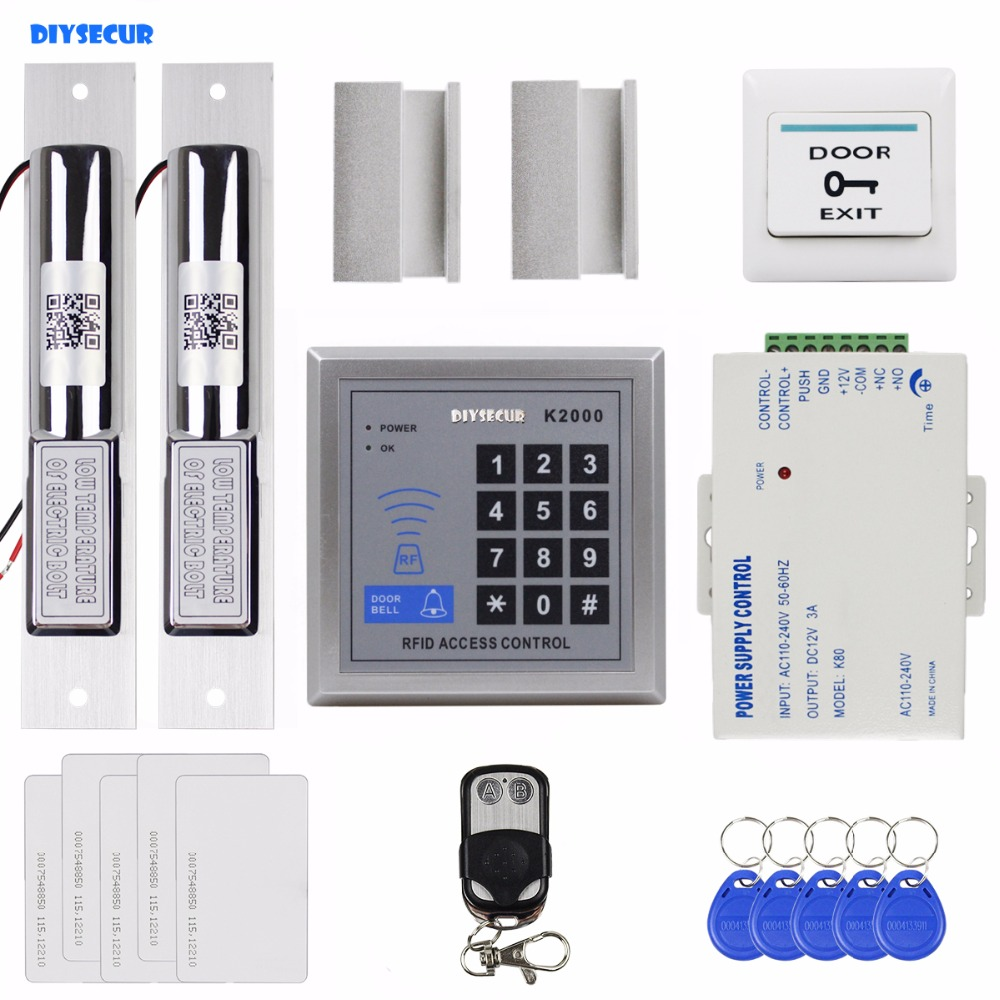 DIYSECUR Remote Control 125KHz RFID Access Control Full Kit Set + Dual Electric Drop Bolt Lock +5 ID Cards 5 Keyfobs K2000 diysecur magnetic lock door lock 125khz rfid password keypad access control system security kit for home office