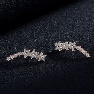 2018 Bling AAA Zirconia Factory Promotion Climber 925 Sterling Silver Long Ear Cuff Stud Earrings For Women Ladies Jewelry Gift