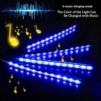led music 4pcs Car RGB LED Strip USB Port Interior Light Multicolor Music Atmosphere Sound Active Function LED Strip LED Lighting (2)
