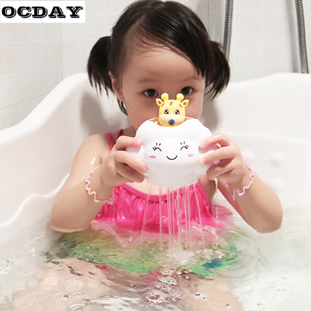 OCDAY Deer Baby Bath Toys Children Kids Plactic oys Spraying Beach Swimming Plaything Bathing Rain Clouds Water spray toys