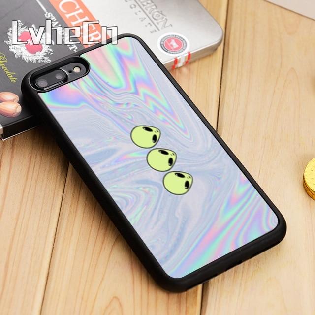LvheCn Funny Alien Pattern Phone Case Cover For iPhone 4 5 5s SE 5C 6 6s 7 8 10 X Samsung Galaxy S5 S6 S7 edge S8 S9 plus note 8