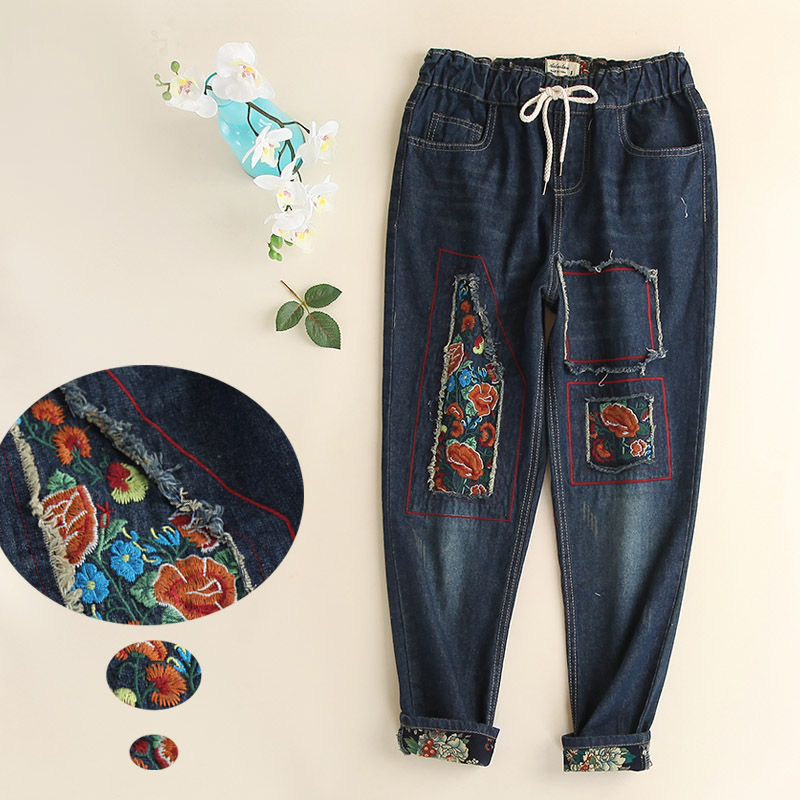 National embroidery trend vintage retro finishing loose applique mm 100% cotton plus size female jeans wide leg pants