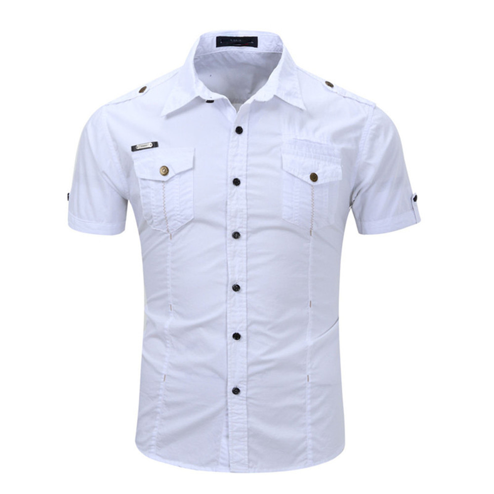 England Style Buttons Decoration Male Short Shirt Fashion Boy Double Pocket White Party Blusa 2019 Hot Sale Men Slim Shirts 3XL