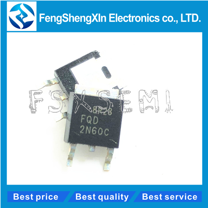 10pcs/lot <font><b>2N60C</b></font> FQD2N60C TO-252 N-Channel QFET MOSFET image