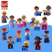 GOROCK 8 шт./компл. Большие размеры строительные блоки персонаж Совместимость Legoe Duploe семья работник фигурка полицейского игрушки для детей Под...