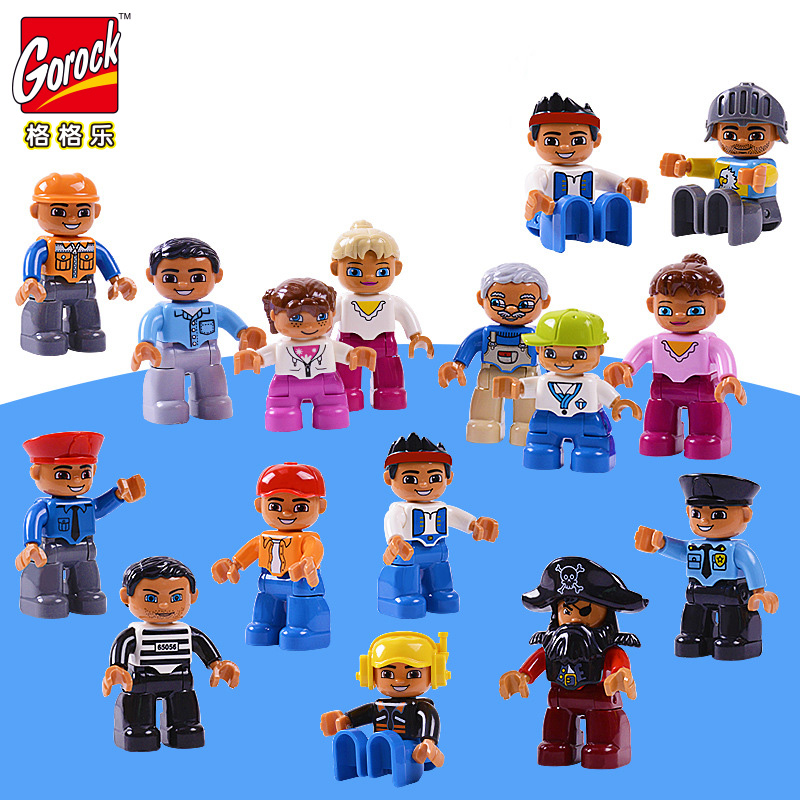 GOROCK 8pcs Set Big Size Building Blocks Character Compatible Legoe Duploe Family Worker Police font b
