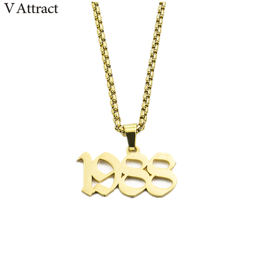Black Color Old English Number Necklace Women Men Jewelry Gothic Personalized Long Chain Pendant Necklaces Wedding Birth Year