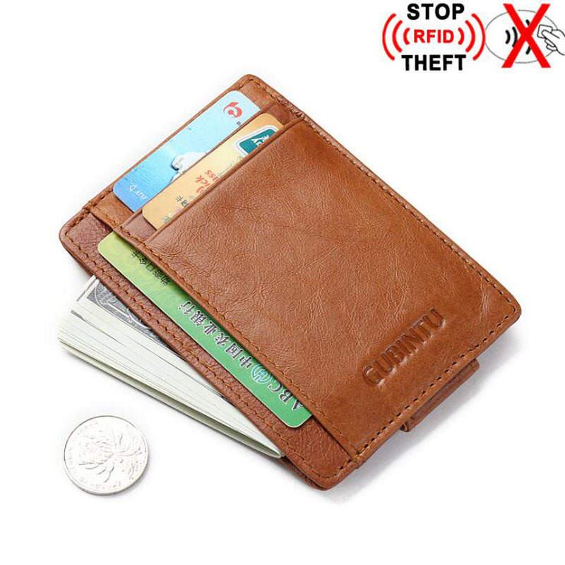 New Genuine Leather Slim Rfid Blocking Wallet For Man Money Clip Small Purse For Man Credit Card Protection Brown Black
