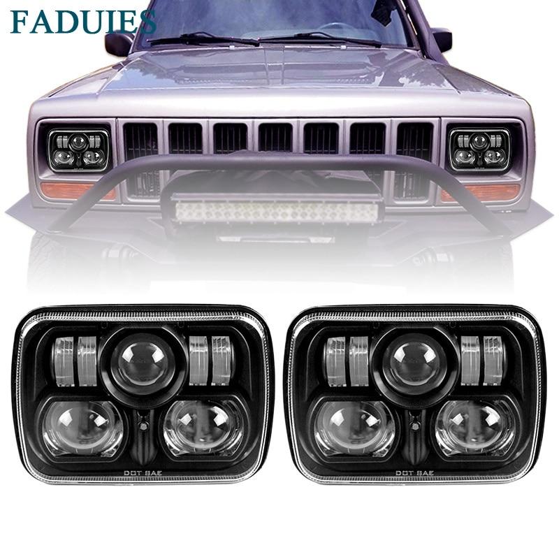 FADUIES Black 5 X 7 6 X 7 inch Off Road Square LED Headlights For 1984-2001 Jeep Cherokee XJ