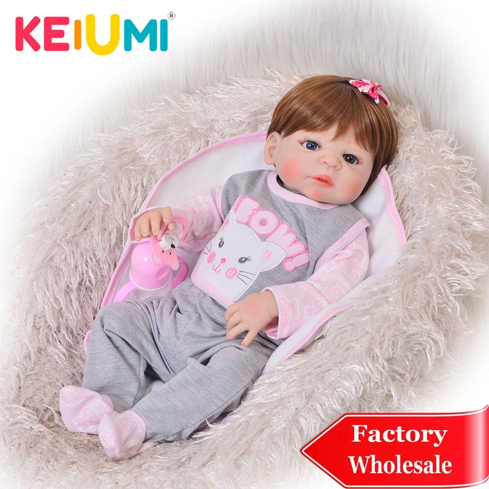 KEIUMI Fashion 23 Inch Reborn Dolls Washable 57 cm Full Silicone Reborn Girl Realistic Princess Baby