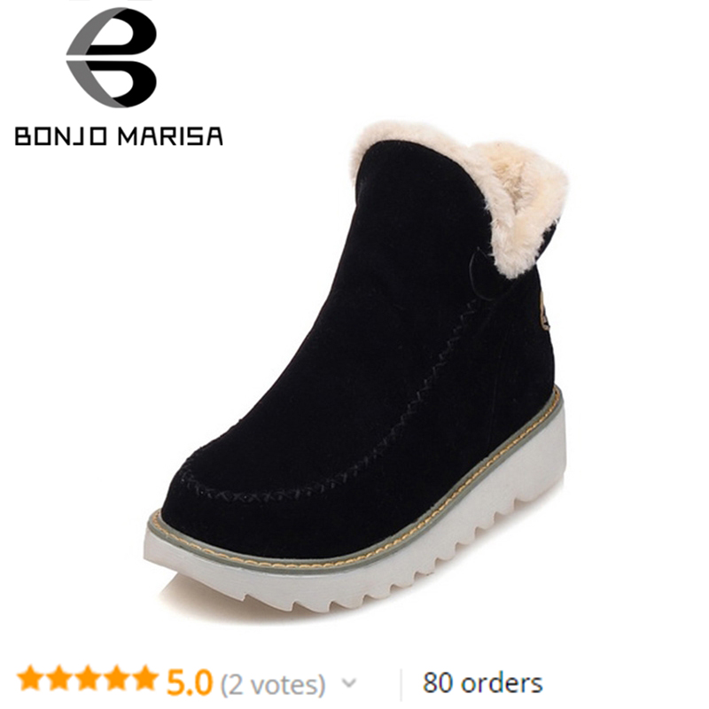 BONJOMARISA Winter Large Size 34-43 Ankle Snow Boots Women Warm Plush Round Toe Platform Shoes Woman comfortable wedges footwear 2017 female warm snow boots large size 41 cotton winter shoe for woman soft comfortable outdoor footwear high quality