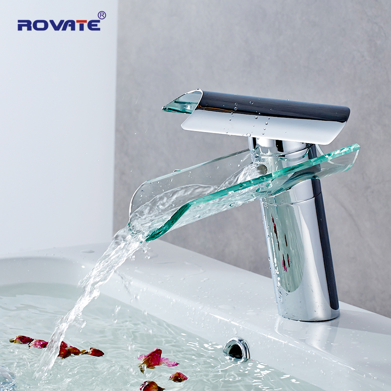 ROVATE Bathroom Basin Faucet Waterfall Spout Glass Brass Chrome Nickel Brushed Cold and Hot Mixer Water Sink Tap цена 2017