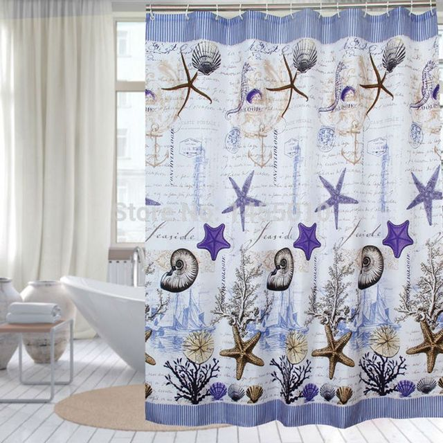 UFRIDAY Fabric Polyester Blue Sea Life Seashell Waterproof Shower Curtain  Thicken Shower Curtain Bathroom Curtains Bath