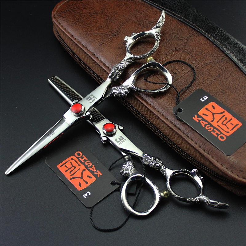 Kasho Scissors 6 Inch Professional Hairdresser's Scissors Dragon Handle Japanese 440c Hair Cutting/thinning Shears for Barber