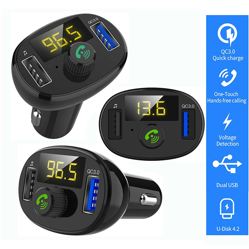 Universal Car MP3 Player Handsfree FM Transmitter QC3 0 USB Charger For iphone X XR XS Max 7 8 6 6s plus Car Charger Accessories in Car Chargers from Cellphones Telecommunications