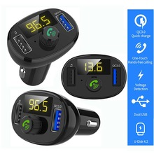 цена на Universal Car MP3 Player Handsfree FM Transmitter QC3.0 USB Charger For iphone X XR XS Max 7 8 6 6s plus Car Charger Accessories