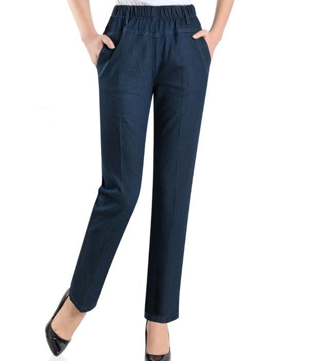 Women's New Jeans Plus Size L-5XL Elastic Waist Loose Casual ankle-length pants Jeans