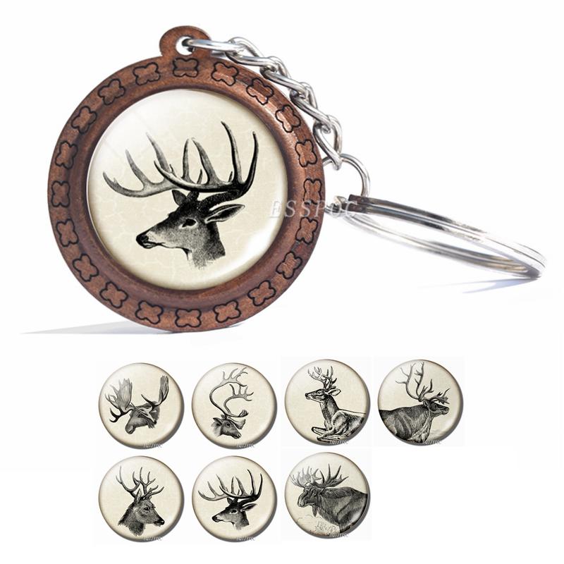 Vintage Animal Deer Keychain Elk Glass Cabochon Wooden Keychain Fashion Accessories For Women Christmas Gift