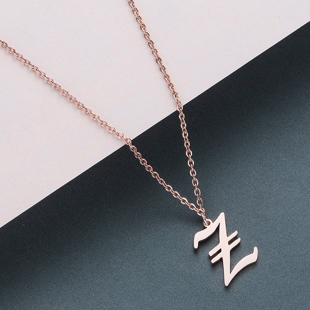 Todorova Old English Custom Capital Initial A-Z Letter Pendant Necklace Men Vintage Font Personalized Necklace Women Jewelry 76