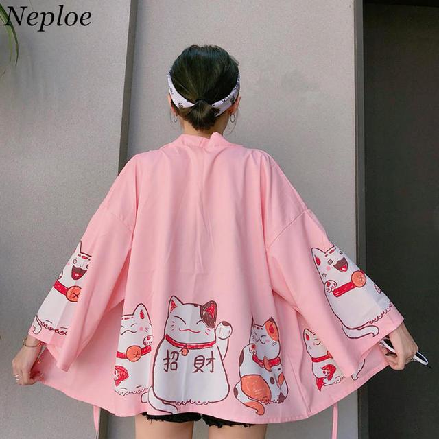 Neploe 2019 יפני קימונו חתול הדפסת קרדיגן Harajuku Loose קימונו ורוד חולצות feminino הלבשה עליונה חולצות נשים מעילים 35714