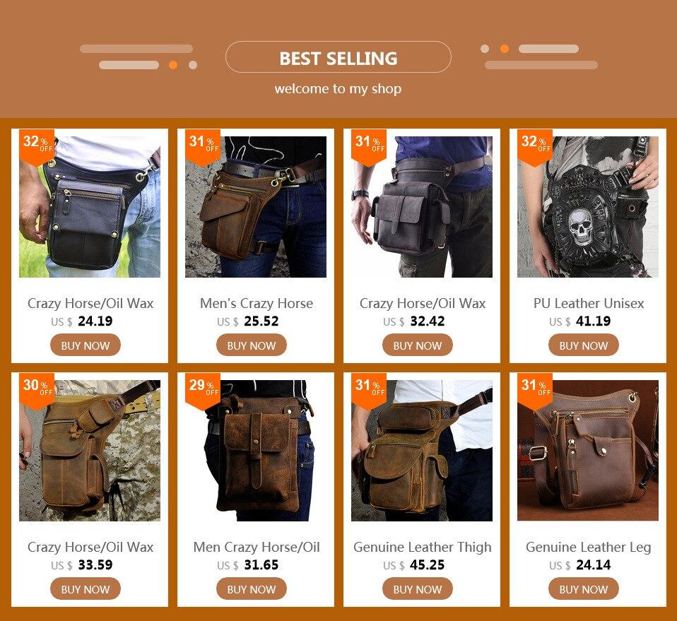 684f97b7916 Men's Crazy Horse Genuine Leather Messenger Shoulder Bag Travel Motorcycle  Riding Fanny Pack Waist Thigh Drop Leg Bag #31621