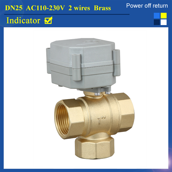 1 AC110V-230V 2 wires 3 way T type brass electric valve for water heating, HVAC, air conditional 1 dc12v 2 wires 3 way electric valve t type 2 wires manual override available for water heating hvac air conditional