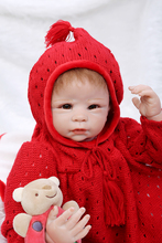 Happy New Year Gift 22inch 55cm Silicone Dolls Reborn With Red Handmade Sweater Clothes Hot Sell Gift As Bebe Meninas Brinquedos