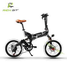 RichBit Mtb ebike 48V 8AH Hidden Battery Folding Electric Bike 7 Speeds Electric Bicycle With USB Cell Phone Recharger Holder