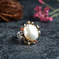 Cross border for natural baroque pearl ring 2017 new jewelry wholesale Guangzhou jewelry factory