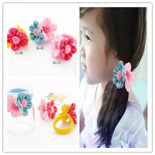 2pcs New Style Girls Scrunchy Hairwear Cloth Flower Headbands Lovely Hair Accessories Ball Hair Rope Women Elastic Hair Bands
