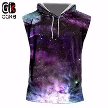 OGKB Hiphop Punk Sleeveless Hoody Jacket Men/women Summer Print Colorful Galaxy Space 3d Tank Top Man Vest Singlets With Cap 7xl(China)