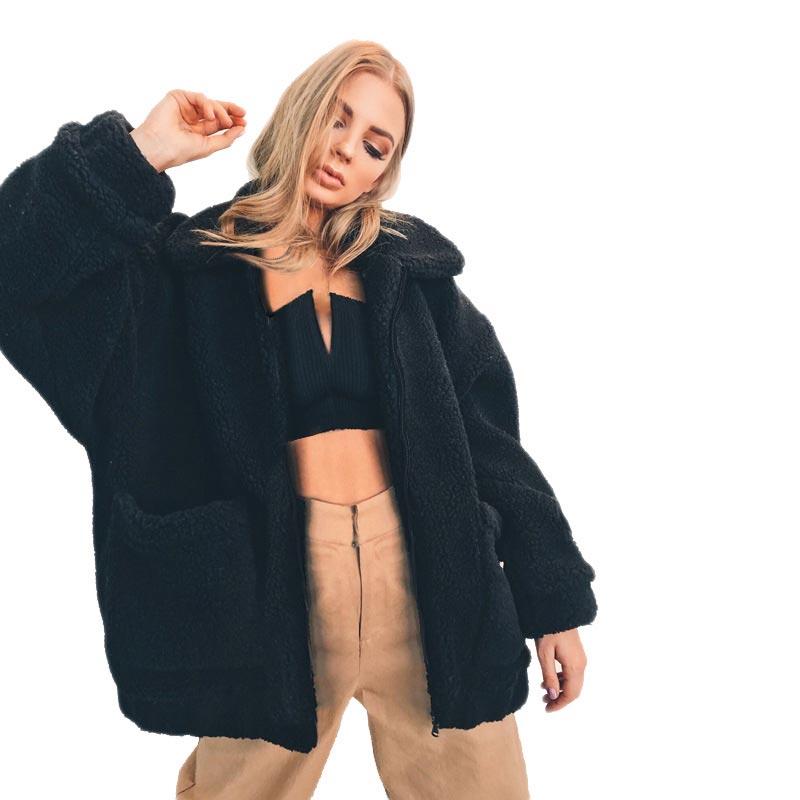 Women jacket 2019 autumn winter jacket fashion female coat new zipper sweaters lapel loose fur jacket women outerwear women coat 3