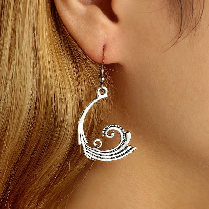 Feather Shaped Earrings Indian Jewelry Vintage Geometric Carved Spiral Tibetan Silver Color Dangle Earrings