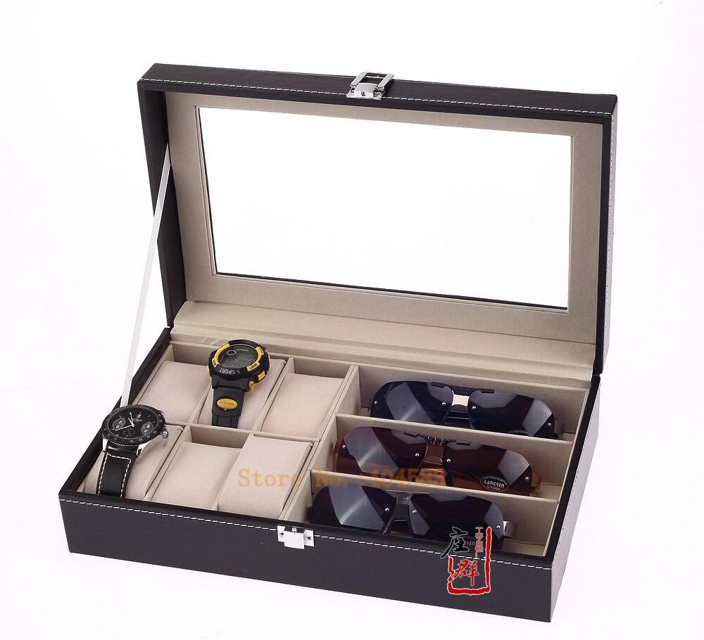 Eyeglasses display - Free Shipping Black Imitation Leather Eyeglass Display Case And Wrist Watch Storage Box China