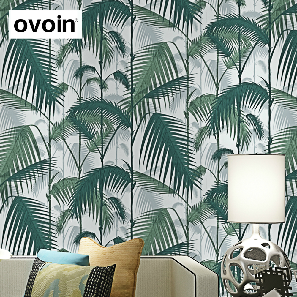 Green Tropical Jungles Palm Tree Leaves Woods Wallpaper Roll Floral Forest Natural Plant Non-woven Wall Paper For Childs Room tropical leaves print tapestry wall hanging art