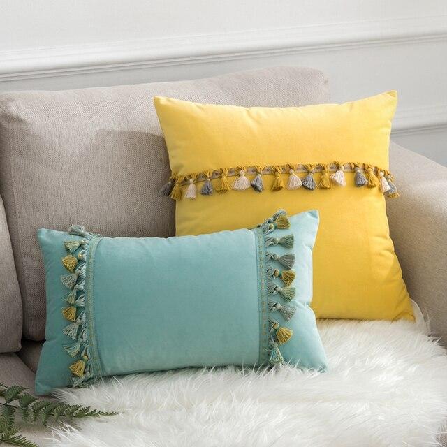 8a0ab63e4880 45x45 50x30 55x55Plain velvet tassel back cushion pillowcase sofa lumbar  pillow case cushion cover