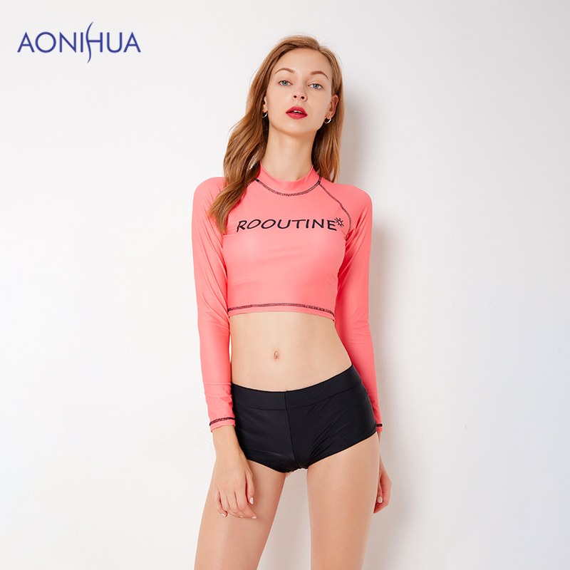 AONIHUA Waterproof Swimsuit Two Piece Set Sport Bodysuit Bathing Suits Swimming Suit Long Sleeve Top