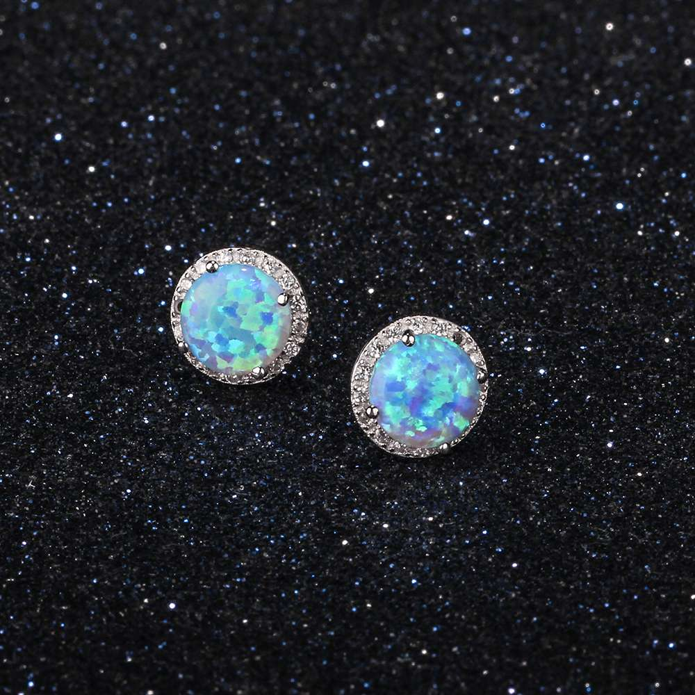 Elegantno Okrugli Blue Fire Opal Stud Earrings Pravi 925 Sterling - Fine nakit - Foto 3