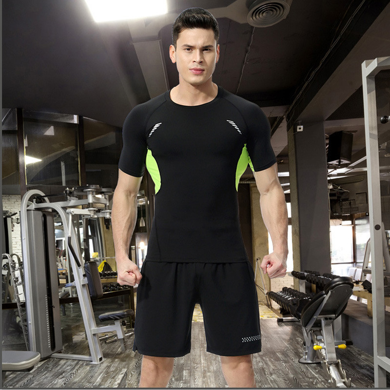 DLIXZI Men Tracksuit Sport Suits Summer Short Sleeve Compression Set Rashguard Stretch T ...