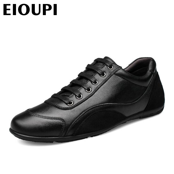 EIOUPI top quality new design genuine real cow leather mens fashion business casual shoe breathable men shoes lh1618 top quality genuine real grain leather boots qshoes mens brand design business dress casual men personalized boot ym08 01