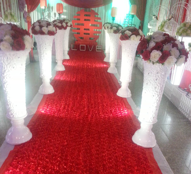 Rose Wedding Carpet Table Covers Party Decoration Petal Red Backdrop
