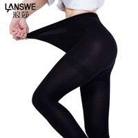 Lanswe高品質女性1200d冬スリムタイツセクシーな肥厚レディブランドのストッキングlangsha