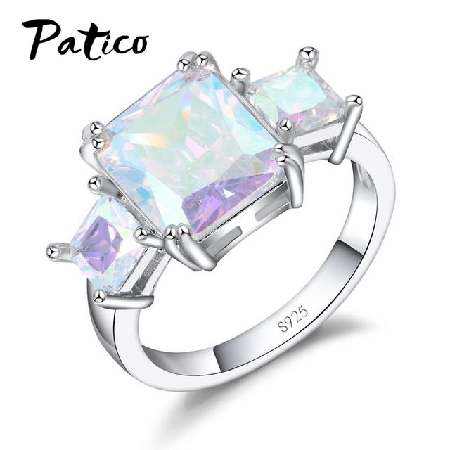 PATICO Trendy New Design S90 Silver Rings Mosaic Three Magnificent Cubic Zirconi