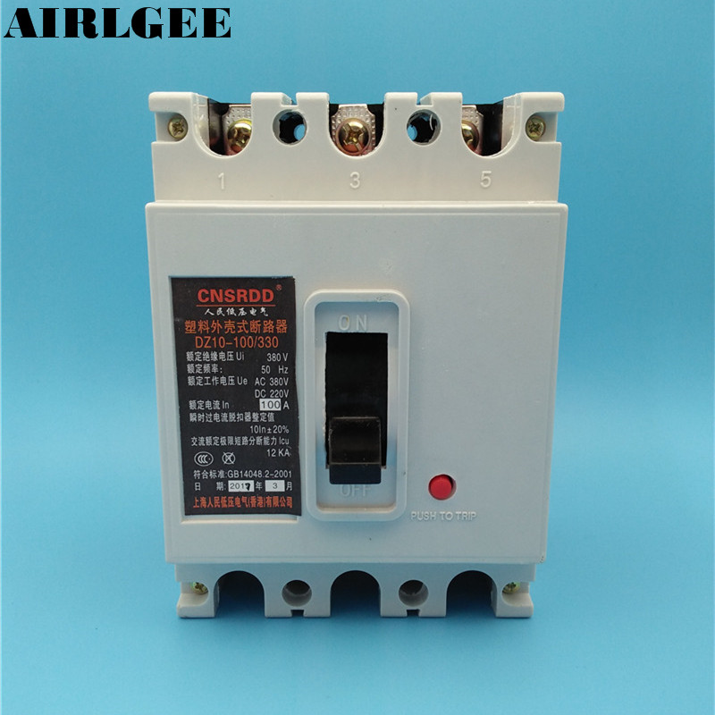AC 380V DC 220V 100A 3P Moulded Case Circuit Breaker new cvs250f 3p 200a lv525332 easypact moulded case circuit break er