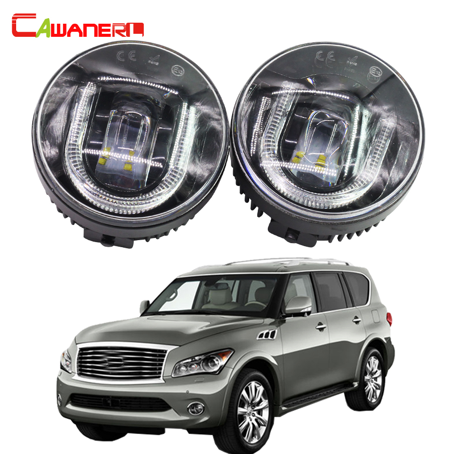 Cawanerl For Infiniti QX56 2011 2012 Car Accessories LED Fog Light Daytime Running Lamp DRL High Lumens 2 Pieces cawanerl 2 pieces car styling led fog light daytime running lamp drl 12v for infiniti g37 sport 3 7l v6 gas 2011 2012 2013
