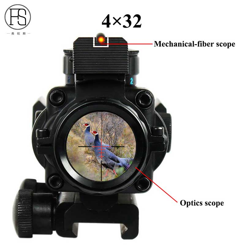 Hot Sale Tactical 4x32 Rifle Scope Front Rear Sights Hunting Shooting Sniper Scope Mini Red Dot Airsoft Sight Scopes Riflescope kandar 6 18x56q front tactical riflescope big objective with glass plate riflescope military equipment for hunting scopes