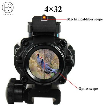 Hot Sale Tactical 4x32 Rifle Scope Front Rear Sights Hunting Shooting Sniper Scope Mini Red Dot Airsoft Sight Scopes Riflescope